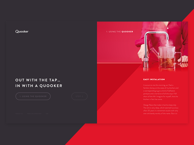 Quooker Concept concept pitch product landing page black red contrast photography ux ui website