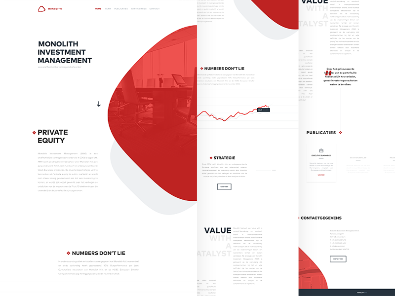 Monolith photography graph ux grey one pager landing web ui typography white red minimal