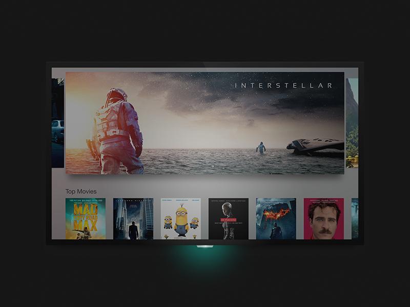 Apple TV Homescreen thumbnails movies landing homescreen tv interface shadow blur ux ui apple tv