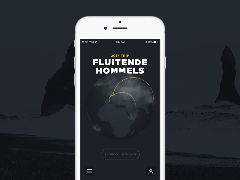 Trip Landing phone ios map black dark typography globe landing app ux ui travel