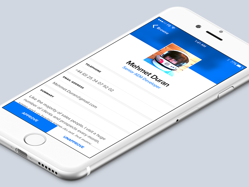 Profile Approval ux ui typography ios app blue thumb vote profile
