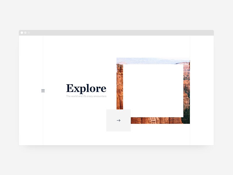 Explore Platform homepage blog web grid line white serif typography ui ux travel