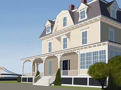Eisenhower House house hand drawn digital painting illustration