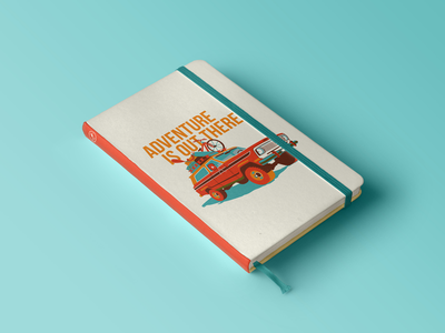 Adventure Is Out There colors bright notebook poster adventure camping truck inspired design illustrator