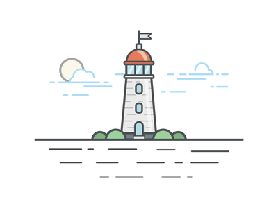 The lighthouse design illustration lighthouse the