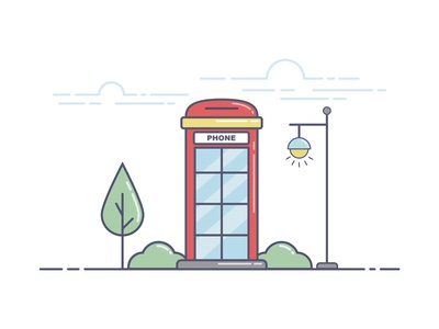 Telephone booth design illustration booth telephone