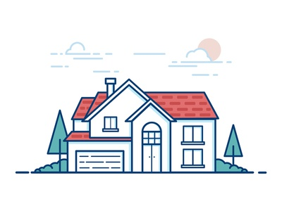 The house scenery design illustration scenery house
