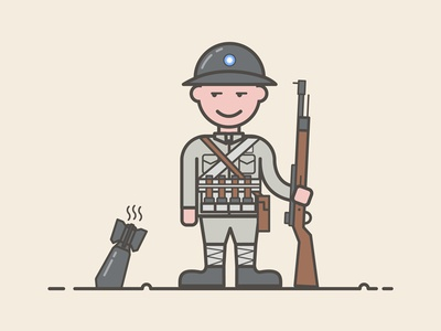 Local troops soldiers illustration design china