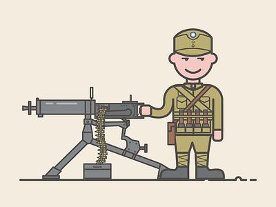 Maxim gun soldier illustration design china gun maxim