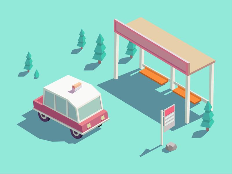 Bus station illustrations design station bus