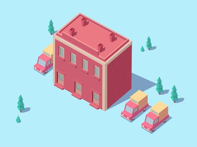 The red building 2.5d design illustration building red the