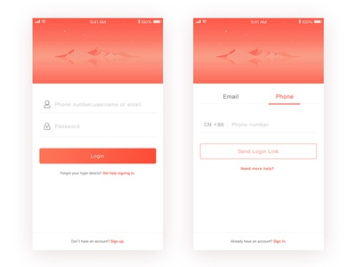 sign in / sign up ui app up in sign