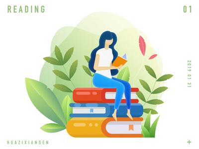 Girls in reading illustrations reading design girl