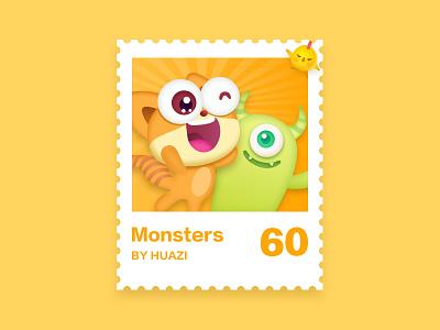 Stamps illustrations stamps china ui illustration design monsters