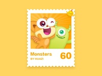 Stamps illustrations stamps china ui illustration design monsters