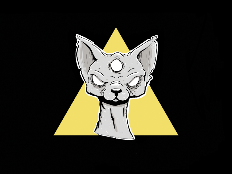 The all seeing cat scary mad feline meow cat third eye photoshop illustration sphynx
