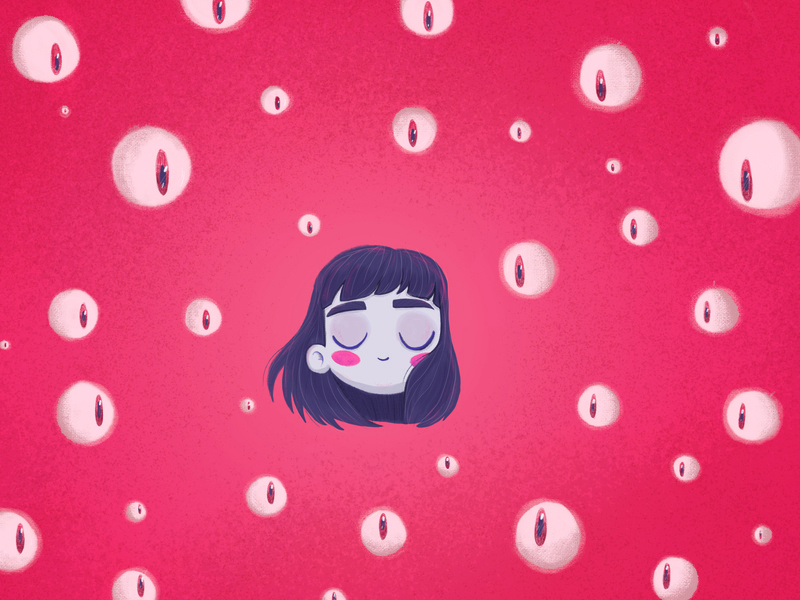 Nobody's watching love happy calm girl girls eyes floating character cartoon illustration