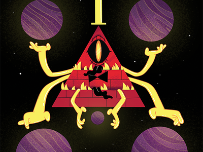 Bill Cipher third eye triangular weird space evil demon monster gravity falls cill cipher bill character cartoon illustration
