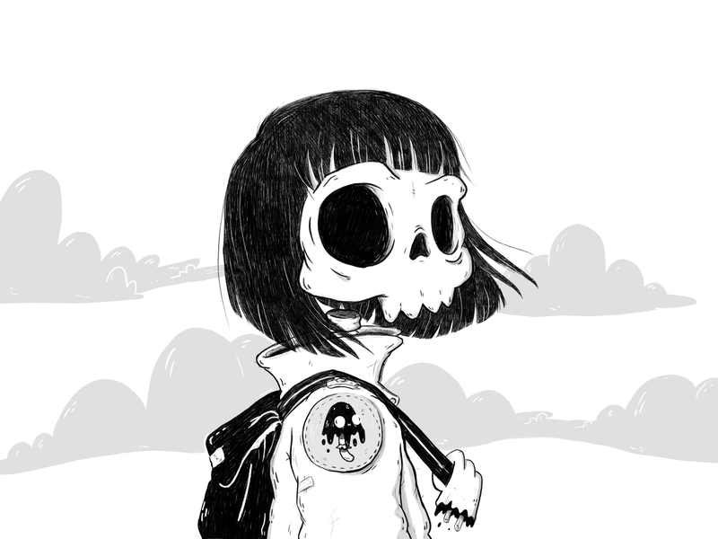 Draw this in your style challenge - 1 digital illustration digital drawing photoshop black and white girl shroom ushroom challenge skull character cartoon illustration