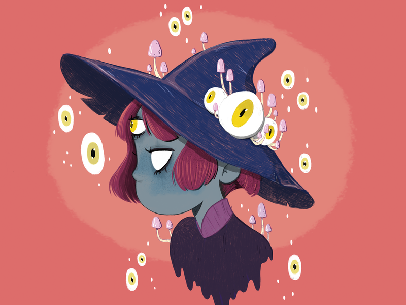 Draw this in your style challenge - 2 trip shrooms magic mushrooms love thirdeye challenge digital sketch photoshop witchcraft witch watching eyes girl character design floating monster character cartoon illustration