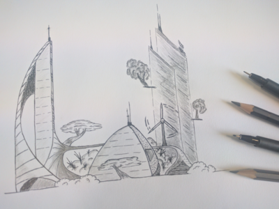 Creative Hours - City of the future illustration iadvize drawing future city