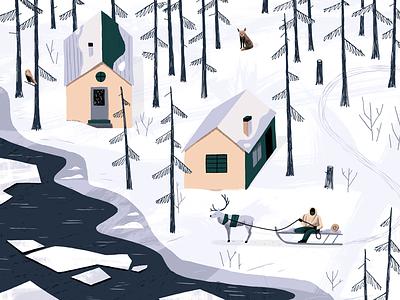 Winter Scene kidlit landscape sled snow forest animals people art texture editorial drawing illustration