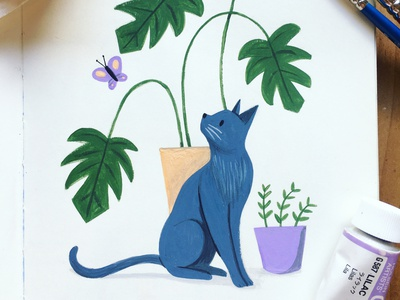 Gouache Kitty With Monstera kids illustration painting gouache picture book kidlit butterfly cat monstera deliciosa plant monstera