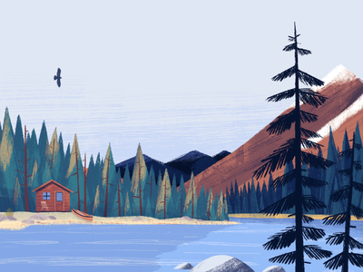 Sustainability Page - Hero Image landscape pacific northwest pnw forest sustainability sustainable plants painting texture editorial drawing illustration