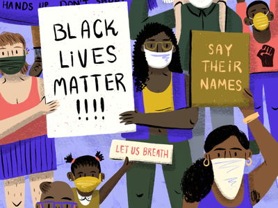 BLM design painting art direction protest people let us breath black lives matter blm character art editorial drawing illustration