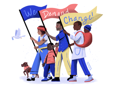 We Demand Change design black lives matter people character art texture editorial drawing illustration