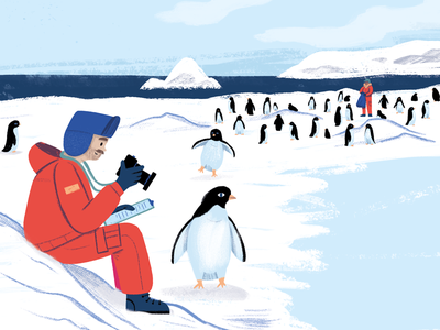 Antarctica 1 texture character art painting picture book book animals people penguin kidlit picturebook editorial drawing illustration