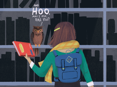 Hoo Are You? magazine animals character people book library girl owl illustration picture book kid lit owl editorial drawing illustration