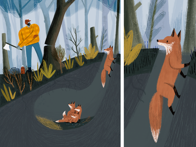 Fox and LumberJack foxes book plants people kidlit picture book drawing editorial texture fox illustration forest fox illustration