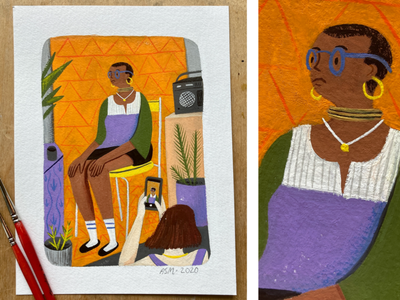 Photoshoot painting gouache character people portrait art portrait selfie editorial drawing illustration