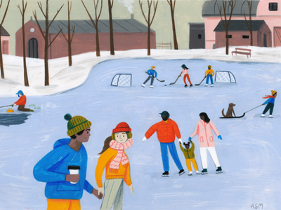 Ice Skating winter wonderland landscape scene ice skating texture painting character people editorial drawing kid lit art picture book winter illustration