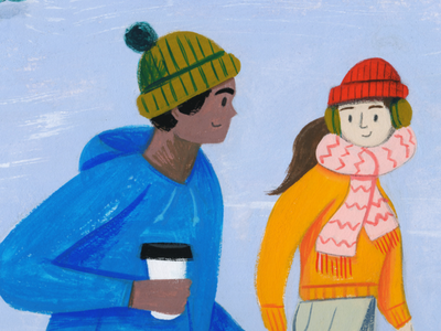Winter Scene - Detail 1 landscape gouache kidlit magazine texture painting character people drawing illustration