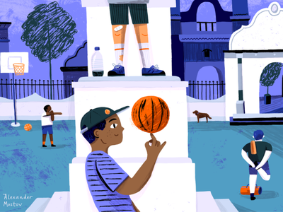 Anyone up for a pick-up game? painting magazine kidlit story picturebook character kids illustration sports basketball kids people editorial drawing illustration