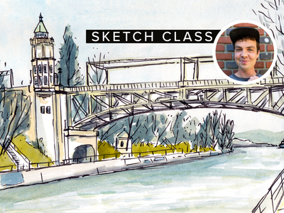 Sketch Class - Outschool.com classic watercolor marker painting editorial illustration architect youth kids tutorial lesson landscape sketching drawing class