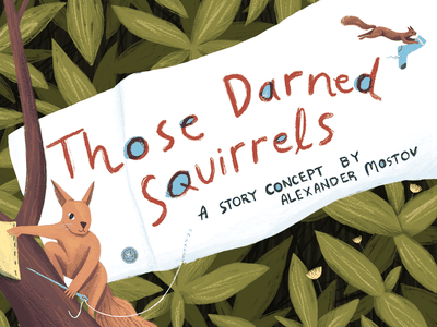 Those Darned Squirrels editorial animals plants painting art drawing childrens book kidlit book cover animails picture book book illustration