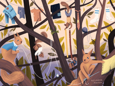 Those Darned Squirrels - 3 gouache magazine kidlit plants animals painting art editorial drawing illustration