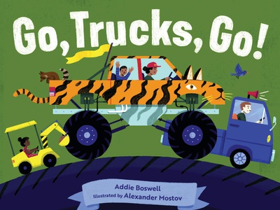Go, Trucks, Go! - Cover Reveal truck people character kids board book picturebook kids illustration drawing illustration