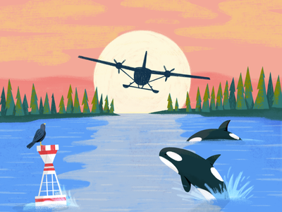 Go, Planes, Go! Spread 1 sketch analog sunset planes whales kidlit picture book plane people drawing illustration