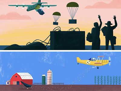 Go, Planes, Go! Spread 3 board book landscape bird kids art kidlit picture book plane people character illustration