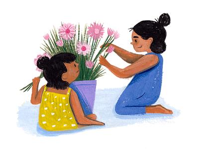 Flower Girls flowers kidlit children painting paint gouache people character art editorial drawing illustration