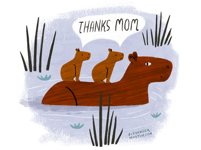 Thanks Mom cute kidlit art kidlit childrens book picture book swimming animals character art editorial drawing illustration