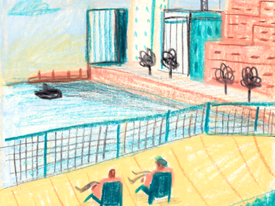 Crayon Drawing 1 picture book city urban sketching crayon plein air people character texture editorial drawing illustration