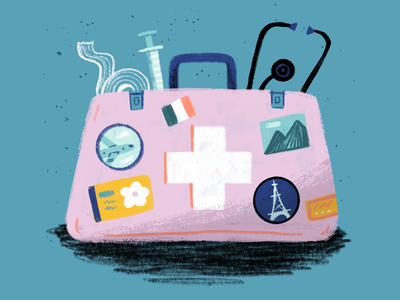 Studying Medicine Abroad procreate hand-drawn magazine doctor character texture art editorial drawing illustration