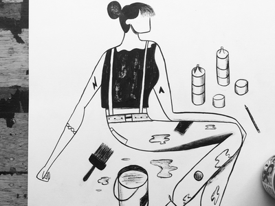 Ink Doodle  india ink character girl painting drawing ink illustration doodle