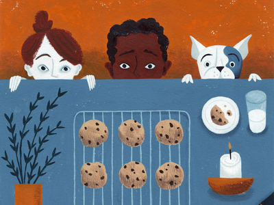 Cookies Anyone? texture paint gouache picture book kid lit flat plant cookies dog characters kids illustration