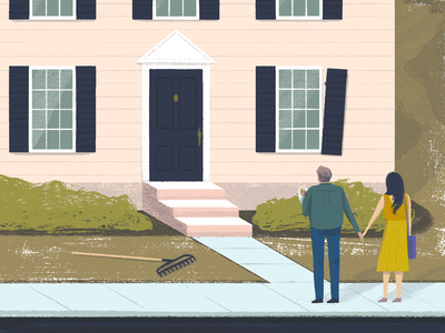 Between These Walls architecture house editorial illustration university people illustration digital painting art
